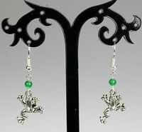 Silver alloy frog earrings with green jade beads, silver-plated hooks
