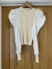 Pixie Mai Boutique Beige & White Puff Sleeve Top Size ONE
