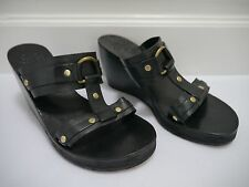 CALLEEN CORDERO black leather brass stud wedge sandals size 7
