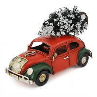 Christmas Vintage Metal Classic VW Beetle Bug Car w/Tree Farm House Rustic Decor