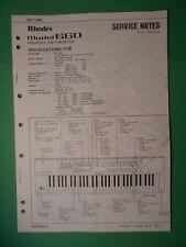 Original ROLAND Service Notes- Rhodes Model 660 RS-PCM Keyboard