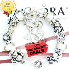 "PANDORA Silver Bracelet with Kissing ""A LOVE STORY!"" VALENTINE European Charms"