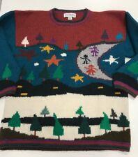 Caamano Alpaca hand knitted Peru Sweater Medium Stars trees Moon people