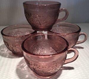 Lot Of 4 ~ Indiana Glass-Tiara-Amethyst Purple Sandwich Tea/Coffee Cup