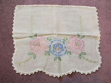 Embroidered Doily Dresser Scarf Crochet Trim Ecru Blue Pink Green 16 x 13 Inch