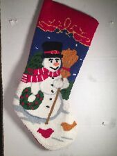 Christmas Stocking Snowman With Broom Embroidered