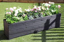 LARGE WOODEN GARDEN PLANTER TROUGH  PAINTED IN CUPRINOL BLACK 150cm LONG DECKING