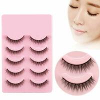 5 Pairs Natural Short Cross False Eyelashes Handmade Makeup Fake Eye Lashes U7