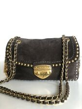 Prada Brown Scamosciato Studded Small Shoulder Handbag