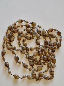 Vintage Art Deco Czech Neiger Wired Venetian Murano Glass Bead Flapper Necklace