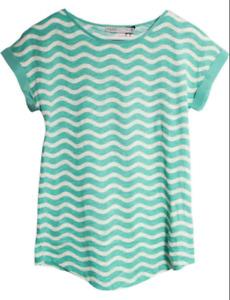 New Oasis Top Wavy Stripe Mint Green Short Sleeve Tee Shirt 6-8 10 12 14-16 18