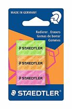 Staedtler 526f Bk3 Rubber Neon Assorted Pack of 3 in BLISTER