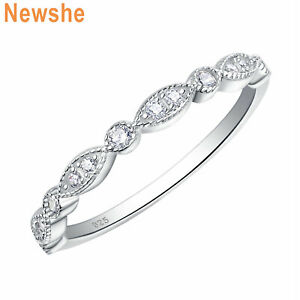 Newshe Wedding Band Eternity Ring 925 Sterling Silver Round White AAAA Cz 5-12