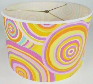 "NEW Drum Lamp Shade 15"" Dia 10"" H Funky Circles Yellow Pink Purple Blue Fabric"