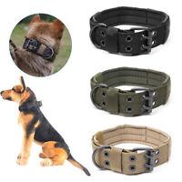 XL Tactical Military Adjustable Dog Training Collar Nylon Leash W/ Metal ❤ !