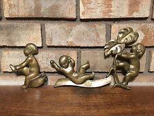 RARE ANTIQUE 3 OLD SOLID BRONZE BRASS BABY CHERUB FIGURAL WALL PLAQUES ART DECO