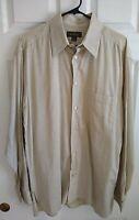 Ermenegildo Zegna Made In Italy Size L Button Up Cotton Plaid Men's Shirt Beige