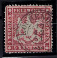 T4303/ GERMANY – WURTEMBERG – MI # 19y USED SIGNED HEINRICH BPP – CV 370 $