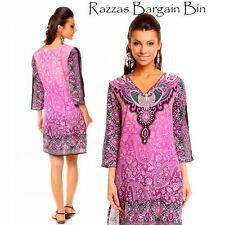 New Ladies Purple Tribal Kaftan Top Dress Size 10AU/12UK (1084)OR