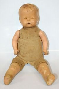 """Vtg Doll Cloth Body Composition Legs Face Arms 17"""" Needs Help Restoration Old"""