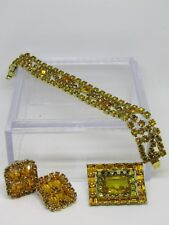 VINTAGE KRAMER OF NEW YORK Goldtone Topaz 3 Piece Set Bracelet/Earrings/Brooch