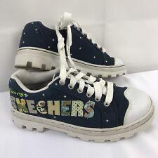 Womens sz 7 Skechers Blue White I Love My Skechers Canvas Appliquéd Casual Shoes