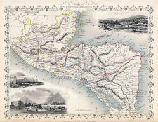 1851 Map Central America Guatemala Nicaragua Vintage Historic Wall Poster School