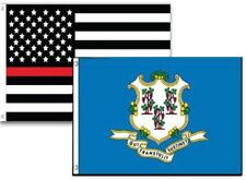 2x3 Usa Fire Thin Red Line Connecticut State 2 Pack Flag Wholesale Combo 2'x3'