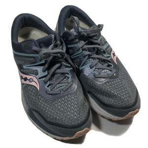 Saucony Womens 10W Omni ISO 2 S10512-1 Blue Pink Running Shoes Lace Up Low Top