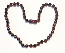 Baltic amber baby necklace, dark cherry round shape beads 33 cm / 13 inch