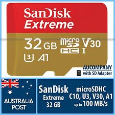 SanDisk Extreme 32 GB 32G Micro SD SDHC Class 10 4K Ultra HD 100MB/s A1 GoPro 4