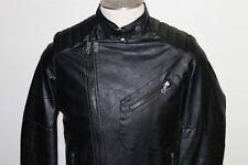 New American stitch Faux Leather black Jacket Men's Biker / Bomber Coat size S