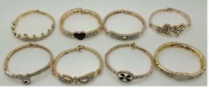 Gold Plated Diamonds Bangle Bracelet Ladies Womens Girls Wedding Party Jewelery