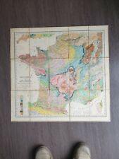Carte Entoilée géologique France 1866