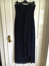 COAST Silk Maxi Party Evening Navy Blue Strapless Corset Waterfall Dress UK10NEW