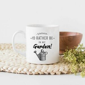 I'd Rather be in my Garden Mug Ceramic/Cup Tea Coffee Gift Any Name Xmas Present
