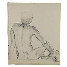 Short haired Sitting Female Model Nude Rear View Life Drawing 1950 Stella Rash