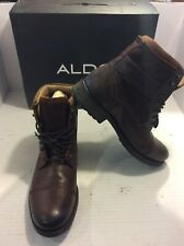 Aldo Ankle Chukka Military Boots Mens Brown Leather - Size 10.5