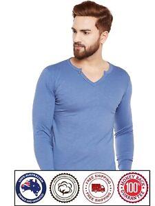 V Neck Long Sleeve Cotton T-Shirt - Sky Blue