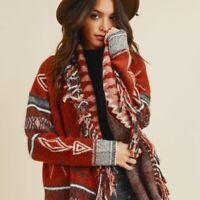 Bohemian Cowichan Fringe Blanket Cardigan Sweater Womens Vtg 70s Insp Size SMALL