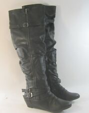 """new Womens Winter Black 1.5""""Low Wedge Heel Sexy Over Knee sexy Boots Size 5.5"""