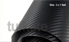 3D Carbon Fiber BLACK Twill-Weave Matte Design Decal Vinyl Film 24 x 12 Inches