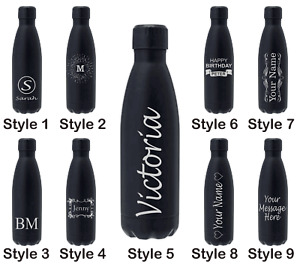 Engraved Water Bottle Stainless Steel Vacuum Insulated Chilly Flask 500ml Drinks