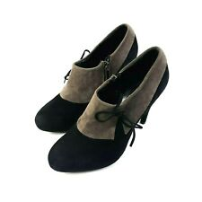 Vera Gomma Womens Ankle Booties 7.5M Black Two-tone Suede Italian Shoes Boots