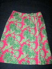 Lilly Pulitzer Women 6 Skirt Pink Green Daisy Floral Faux Wrap Signature Print