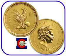 2005 Lunar Rooster 1/10 oz $15 Gold Coin, Series I, Perth Mint in Australia