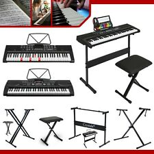 More details for double braced height adjustable x frame music piano keyboard stand & bench chair