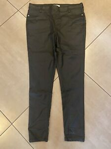 Black Leather Look Pull On Trousers FF Size 16