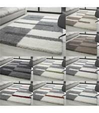 Teppich Hochflor Shaggy Langflor Wohnzimmer Karo Muster Florhöhe 3 cm