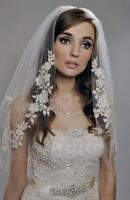 Short Appliques Beaded Tulle Wedding Bridal Veil Bride Hair AccessoryHeaddress